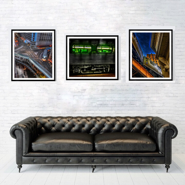 Chicago Train Print Set | Set of 3 Wall Art at 30% off