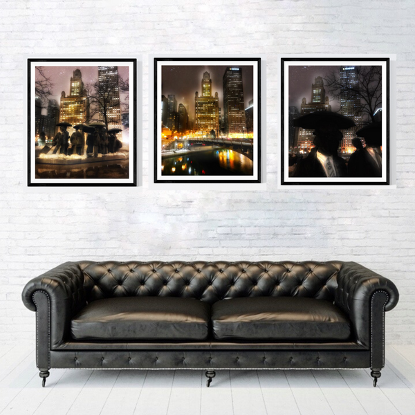 Chicago Umbrella Men Print Set | Set of 3 Wall Art at 30% off