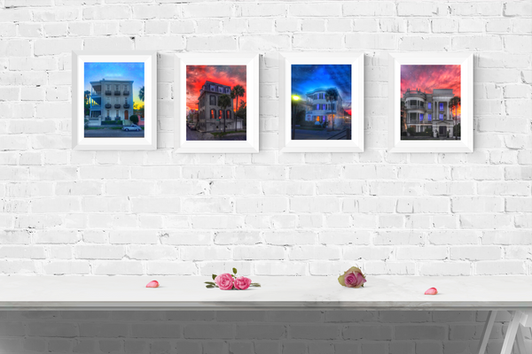 Charleston South Carolina Print Set | Set of 4 Wall Art at 30% off | Charleston House Wall Decor | Charleston Battery Wall Decor