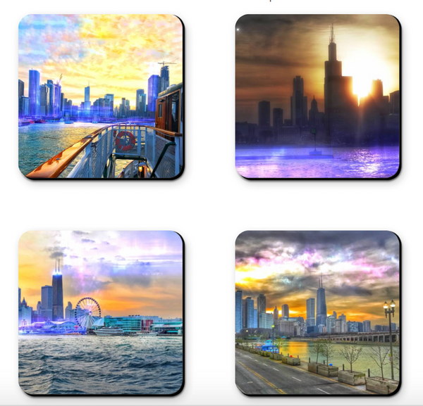 Chicago River Sunset Coaster Sets