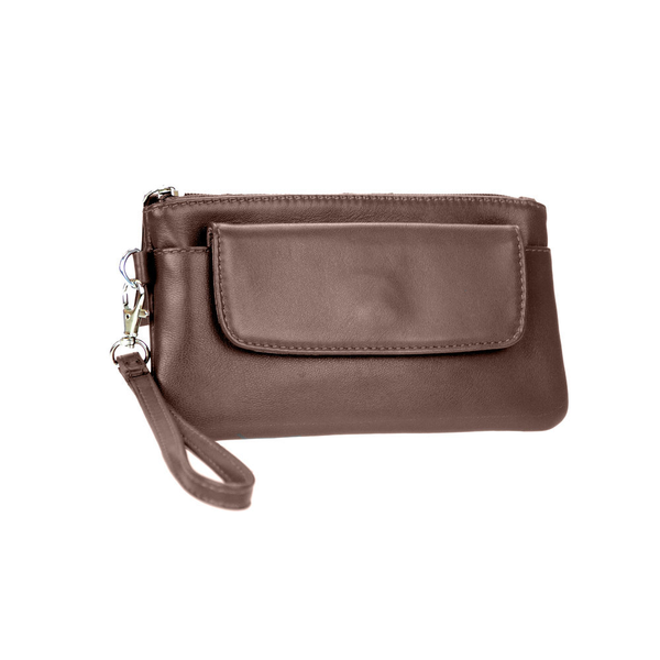 Lady's Genuine Brown Leather Wristlet - Pike Creek Boutique