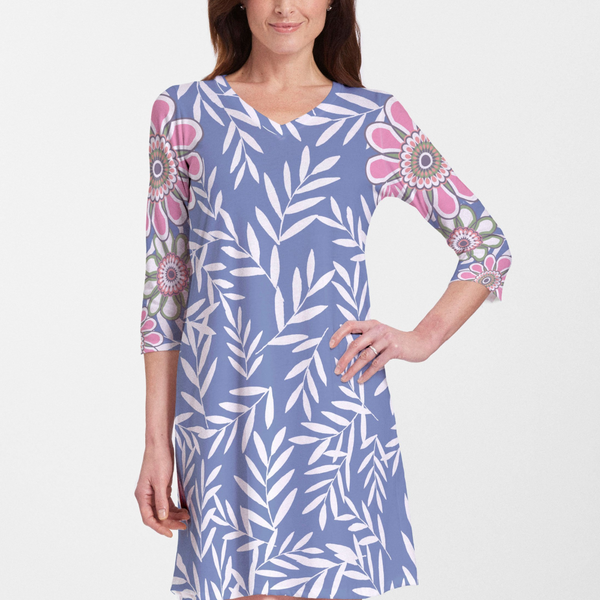 Midnight Garden Cotton V-Neck Swing Dress - Fun whimsy blue and white print with bold floral design on the sleeves in pink, green and orange designed by Laura Lobdell - Pike Creek Boutique