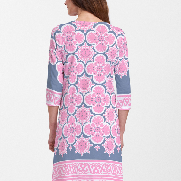 Isabella Pink V-Neck Cotton Swing Dress - Retro floral design in bright fuchsia and navy with a contrasting trim designed by Teresa Woo-Murray. Cotton/Polyester blend - Pike Creek Boutique