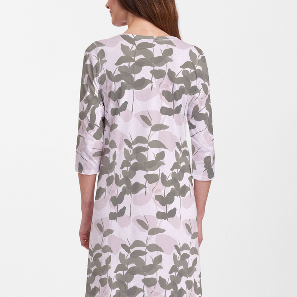 On Pink Cotton V-Neck Dress - Abstract floral print in pink and olive green - Pike Creek Boutique