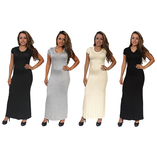 Women's Chic Casual Short Sleeve Long Maxi Dress 4-PACK MADE IN USA S, M, L.MAXI 4 PACK.M - Pike Creek Boutique