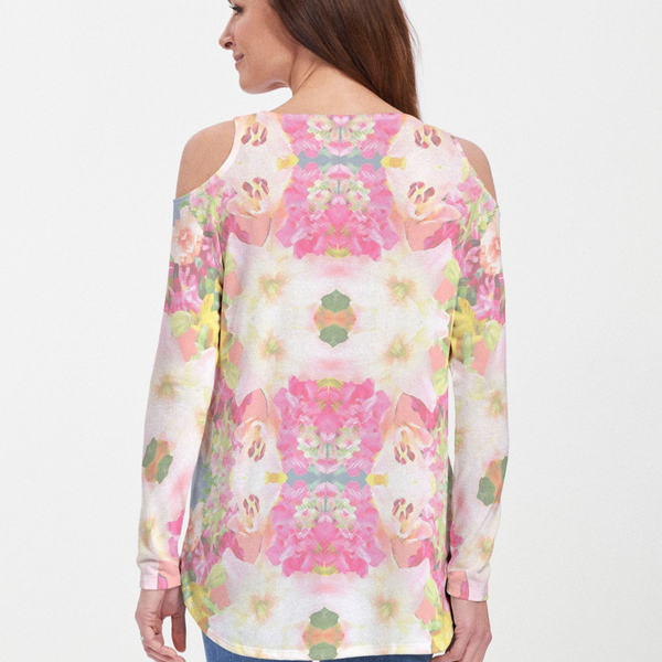 Mirage Pink Cold Shoulder Blouse - Abstract floral print with shades of fuchsia, light pink, yellow and green designed by Diane Kappa - Pike Creek Boutique