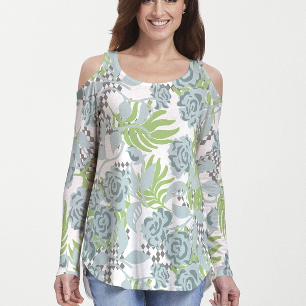 Playful floral print blouse in light blue and lime green with black and white checkered accents - Pike Creek Boutique