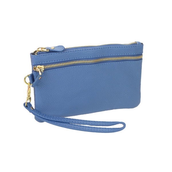 Lady's Genuine Wedgewood Blue Leather Wristlet