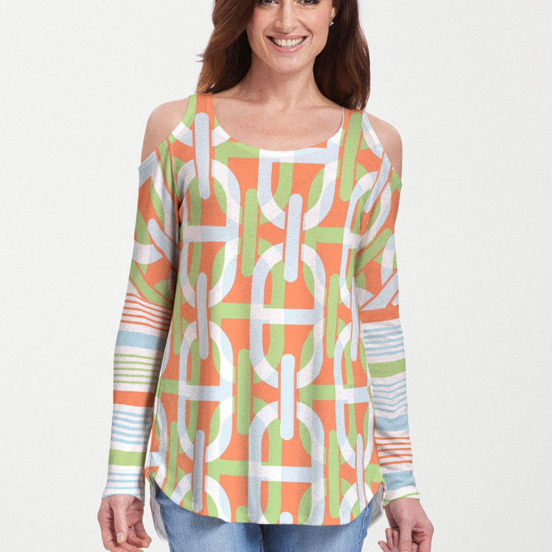 Mooring Lime Cold Shoulder Blouse - Playful lime green, orange, blue and white geometric print with contrasting front and back designed by Diane Kappa - Pike Creek Boutique