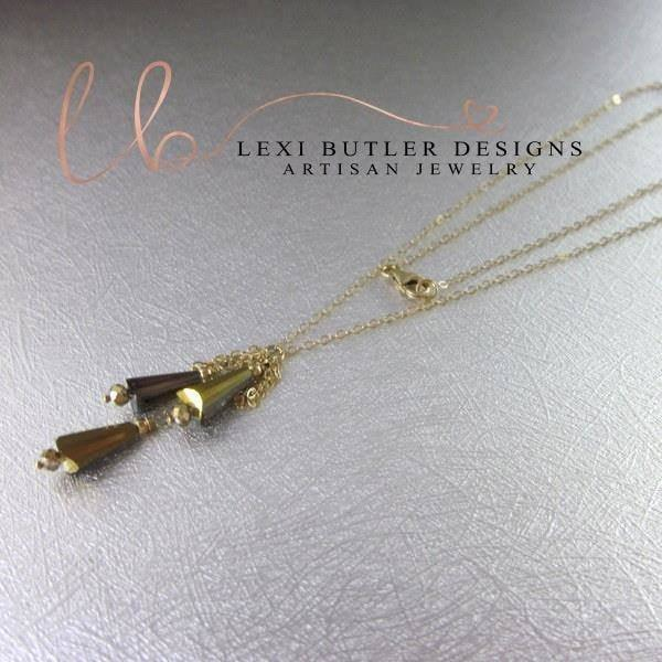 14K Gold Filled Rainbow Crystal Cone Tassel Chain Necklace by Lexi Butler Designs - Pike Creek Boutique