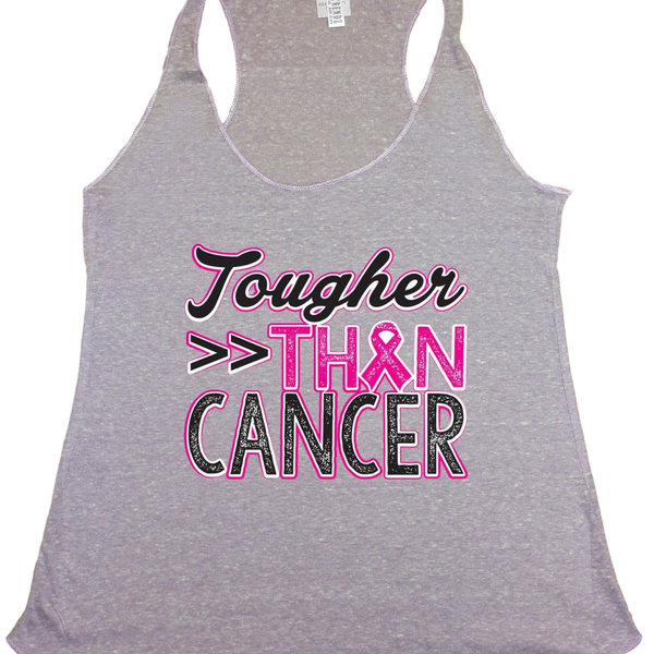Women's Tougher Than Cancer Breast Cancer Awareness Tri Blend Tank LILAC