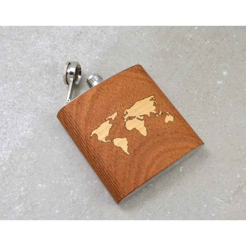 World Map Hip Flask - Pike Creek Boutique