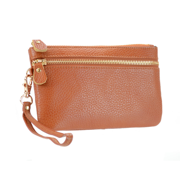 Lady's Genuine Cognac Brown Leather Wristlet