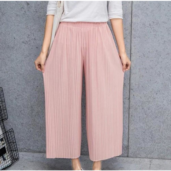 Women's Flowy Chiffon Wide Leg Pants - Pink - Pike Creek Boutique