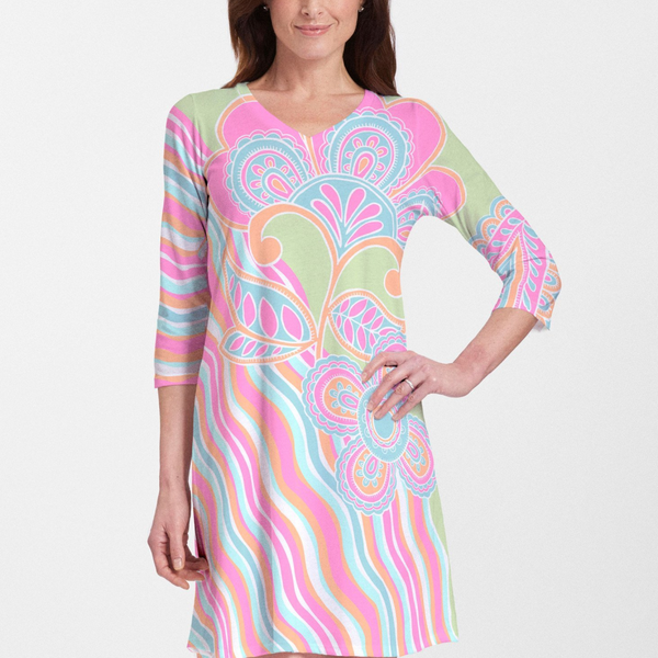 Juicy Wave V-Neck Swing Dress - Bold abstract floral print with bright fuchsia, aqua, lime green and orange designed by Diane Kappa. Cotton/Polyester blend - Pike Creek Boutique
