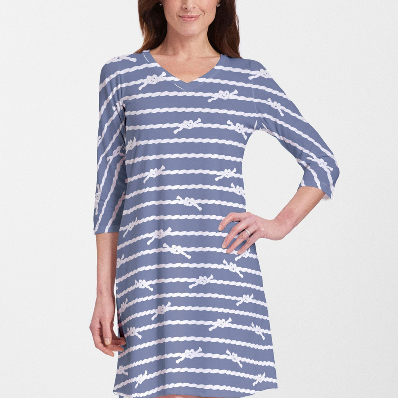 Knots Navy V-Neck Swing Dress - Marine navy and white nautical design by Alison Hoenes. Cotton/Polyester blend - Pike Creek Boutique