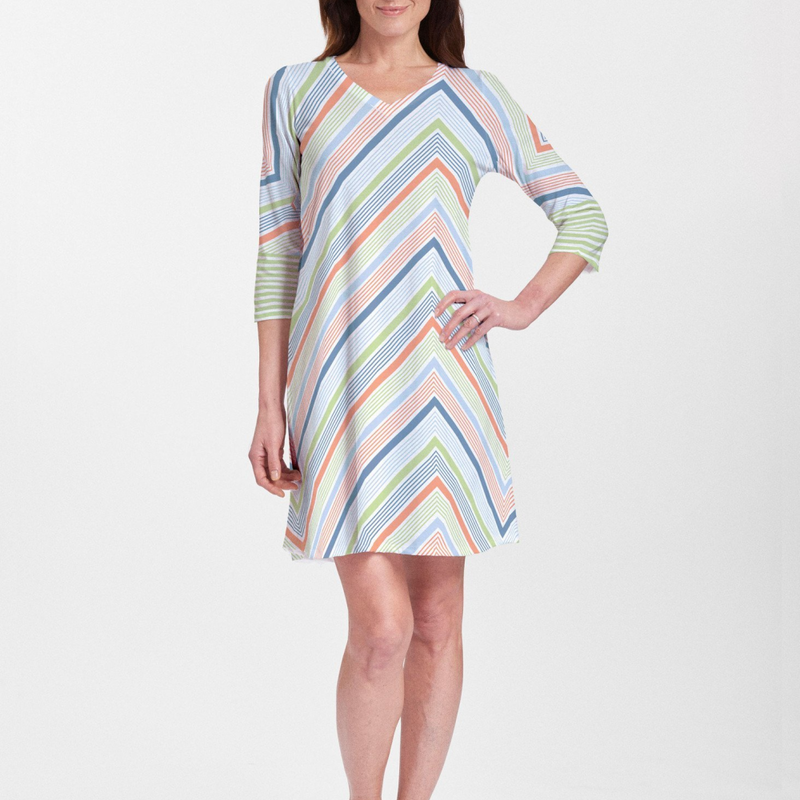 Classic diagonal blue, orange and green geometric stripe combination dress designed by Diane Kappa - Pike Creek Boutique