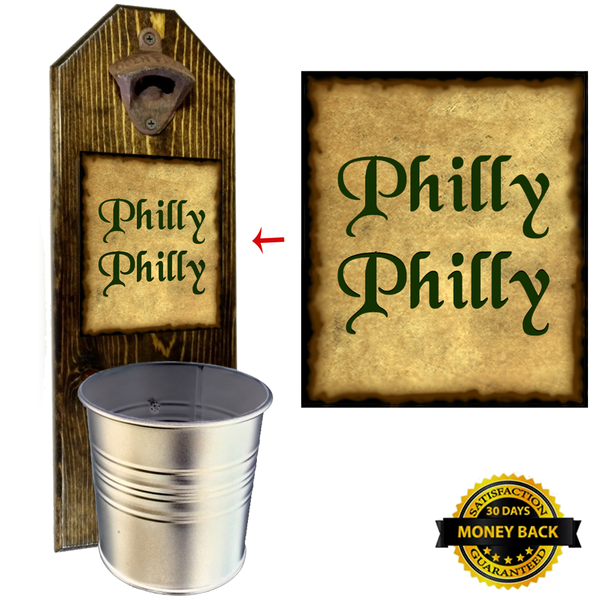 Philly Philly Bottle Opener - These well-made, handcrafted old fashion bottle openers make the perfect gift for home brewers, local craft beer makers, mini bars, house warming or retirements, Groomsmen Gifts, or anyone who opens bottles! Just pop the tops and let them fall. The nice wide bucket will catch and securely hold them in place. Just give it a twist to empty! - Pike Creek Boutique