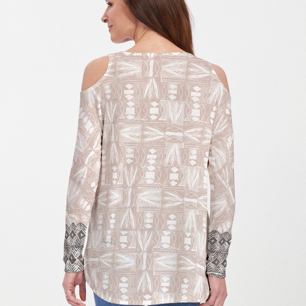 Shaded Sand cold shoulder blouse - Soft coastal beige, black and white hand-crafted artisan block print with contrasting front and back print, designed by Sigrid Olsen - Pike Creek Boutique