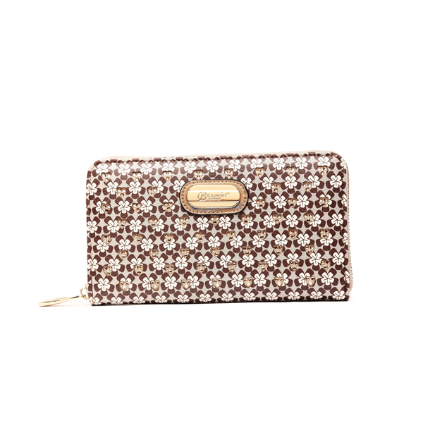 The Galaxy Stars Wallet is a structured zippered wallet designed with matte pebble leather - Pike Creek Boutique