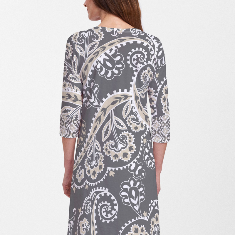 Legend Black V-Neck Dress - Fanciful black, white and beige floral print with contrasting print on sleeves designed by Teresa Woo-Murray.  Cotton/Polyester blend - Pike Creek Boutique