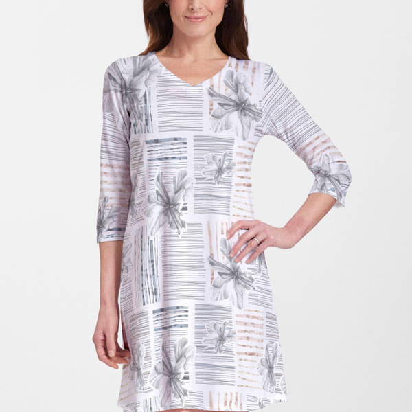 Iris Stripe White Cotton V-Neck Swing Dress - Artistic pen & watercolor iris blooms with striking blocked strokes of navy, beige and black on a white background - Pike Creek Boutique