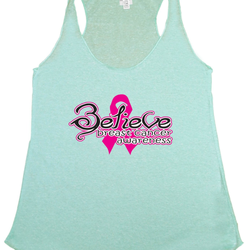 Women's BELIEVE Breast Cancer Awareness Tri blend Tank TURQUOISE