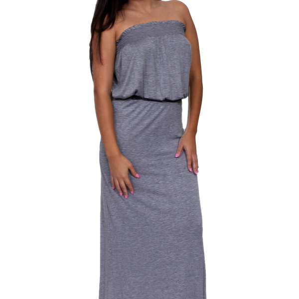Women's Smocked Tube Maxi Dress Long Full Length Made in the USA - Pike Creek Boutique