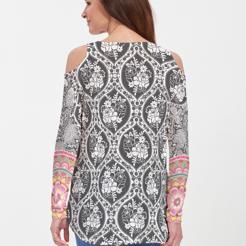 Moonlit Floral Cold Shoulder Blouse - Vivid floral print in black and white with bold accents on the sleeves in pink, lime green and yellow designed by Diane Kappa - Pike Creek Boutique