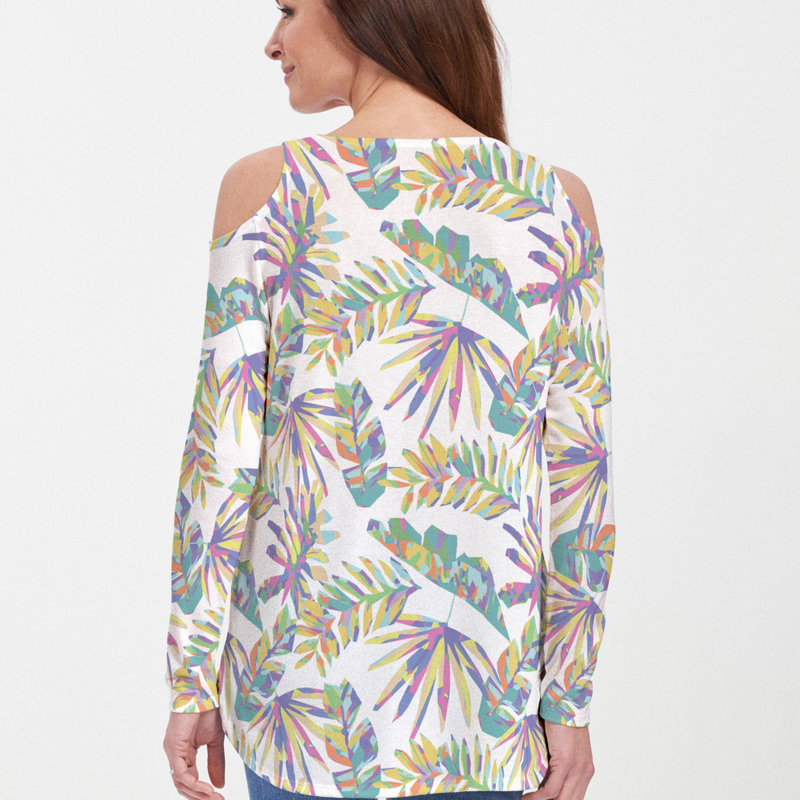 Bold tropical floral print blouse with vivid shades of purple, green, yellow and white - Pike Creek Boutique