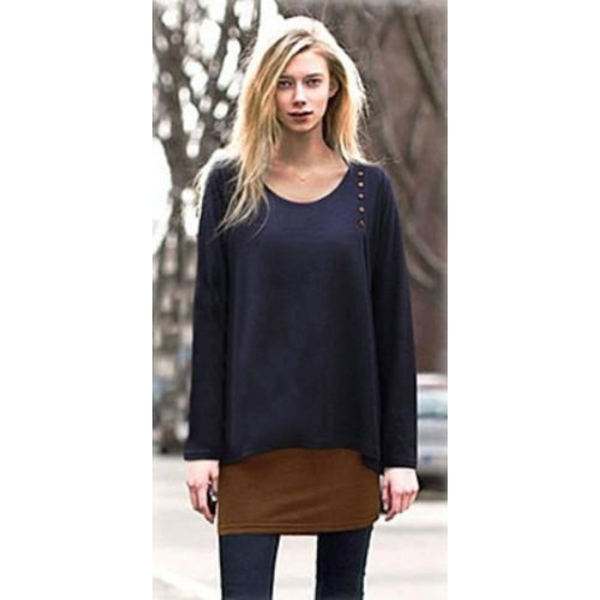 Navy Blue Layered Look Long Sleeve Button Top Blouse - Pike Creek Boutique
