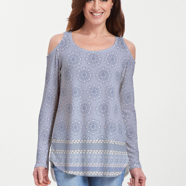 Maui Grey (2299) ~ Cold Shoulder Tunic - Pike Creek Boutique