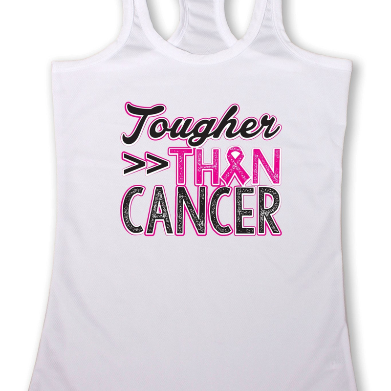 "Women's ""Tougher than Cancer"" Breast Cancer Awareness Racerback TANK White - Pike Creek Boutique"