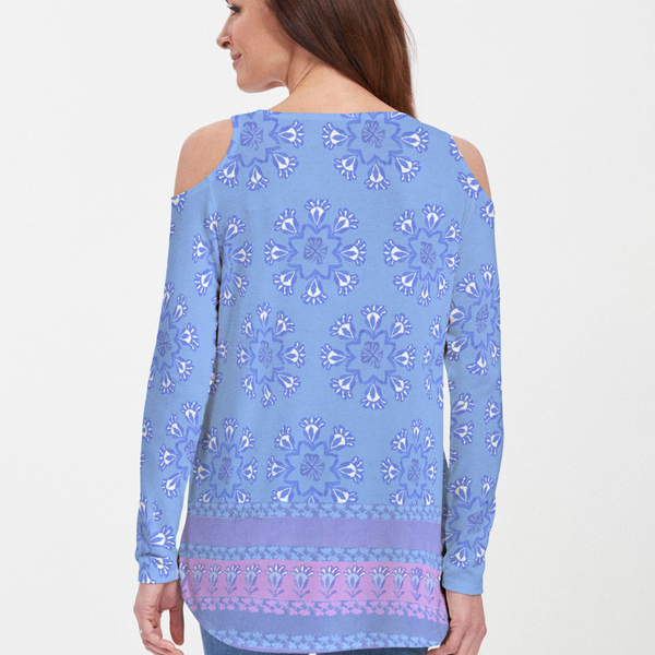 Maui Blue (2300) ~ Cold Shoulder Tunic - Pike Creek Boutique