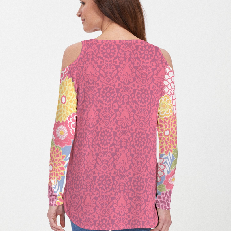 Happy Pink Cold Shoulder Blouse - Fanciful fuchsia, blue, yellow and green floral print with contrasting sleeve designed by Diane Kappa - Pike Creek Boutique