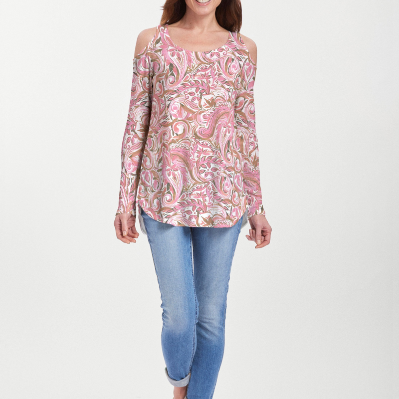 Handpainted Paisley Pink Cold Shoulder Blouse - Abstract floral print in pink, olive green and white - Pike Creek Boutique