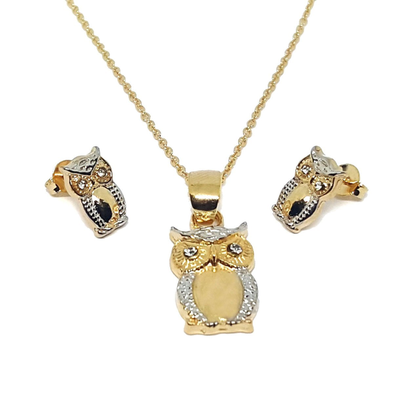 Gold Overlay Two Tone Owl Set with Gold Filled Rolo Chain. - Pike Creek Boutique