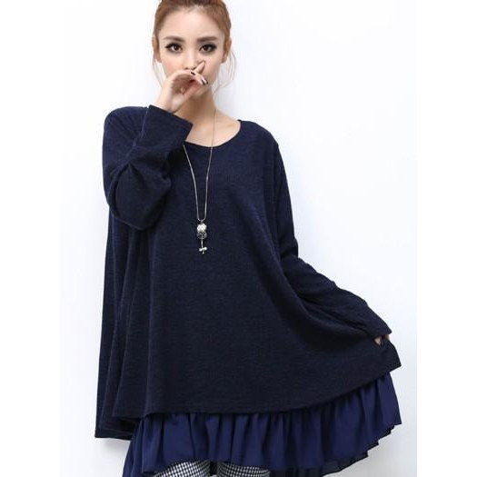 Womens Layered Tunic Sweater Dress with Frill Trim in Navy - Pike Creek Boutique