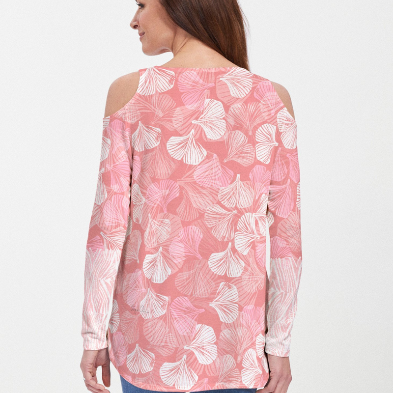 Ginko Pink Cold Shoulder Blouse - Fanciful petal pink and red geometric hand-crafted artisan block print with front and back color contrasted leaf, designed by Sigrid Olsen - Pike Creek Boutique