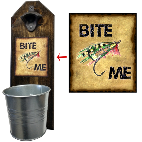 Bite Me Fishing Lure Bottle Opener - These well-made, handcrafted old fashion bottle openers make the perfect gift for home brewers, local craft beer makers, mini bars, house warming or retirements, Groomsmen Gifts, or anyone who opens bottles! Just pop the tops and let them fall. The nice wide bucket will catch and securely hold them in place. Just give it a twist to empty - Pike Creek Boutique