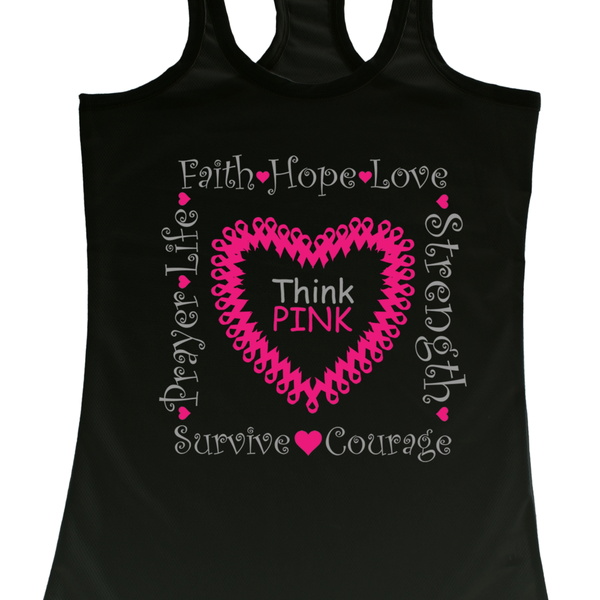 Women's Tank Top Breast Cancer Awareness Think Pink Hope Ribbon