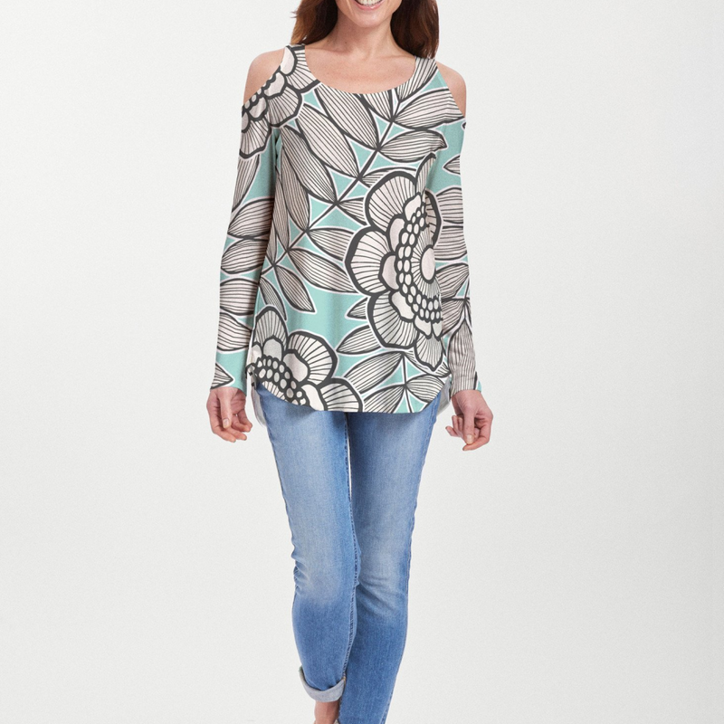 Salt Air Turquoise Cold Shoulder Blouse - Fanciful aqua, black and white floral print designed by Diane Kappa - Pike Creek Boutique