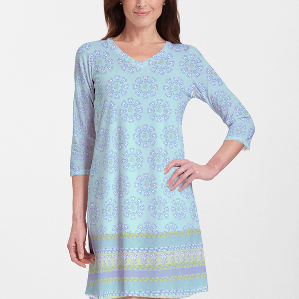Maui Aqua (2298) ~ V-neck Swing Dress - Pike Creek Boutique