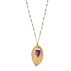 Serenity Necklace - Gold Filled Leaf and Amethyst - Pike Creek Boutique