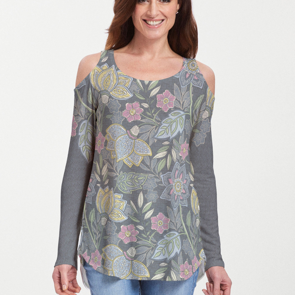 Isabellas Garden Cold Shoulder Tunic - Embroidery inspired print with yellow and rose ornamental flowers on a black background with subtle crosshatch pattern designed by Diane Kappa - Pike Creek Boutique