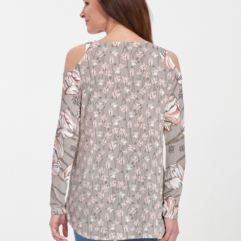 Tulips Multi Beige Cold Shoulder Blouse - Handpainted abstract tulips accented in coral, teal and brown on a beige background with enlarged tulips on the sleeves - Pike Creek Boutique