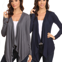 2 Pack Women's Cardigan Short Drape Open Front S to 3X Athleisure Made in the USA - Pike Creek Boutique