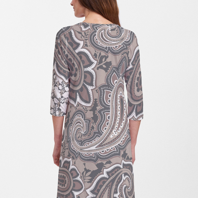 Harbor Paisley Brown Cotton V-Neck Dress - Beautiful brown, beige and black paisley design with contrasting front to back vivid floral print, designed by Diane Kappa - Pike Creek Boutique