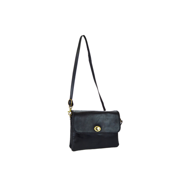 Lady's Black Leather Crossbody Bag - Pike Creek Boutique