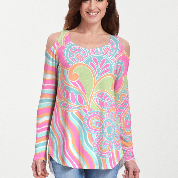 Juicy Wave Cold Shoulder Blouse - Bold abstract floral print with bright fuchsia, aqua, lime green and orange designed by Diane Kappa - Pike Creek Boutique